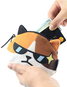 Cartoon Cat Face Design Plush Money Purse Wallet, Orange & White