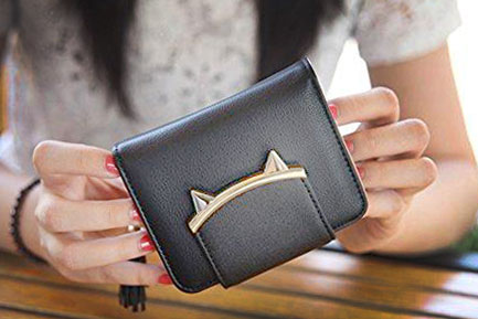 Cat Ears Coin Purse for Ladies by HeySun, High-quality Golden Hardware  Edit alt text