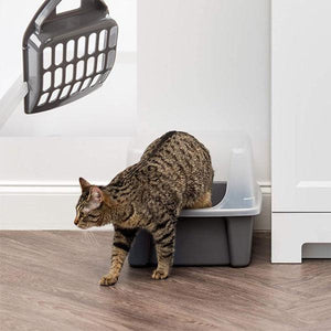 Open Top Cat Litter Box Kit with Shield and Scoop by IRIS