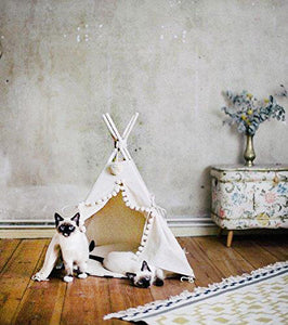 Cat Teepee Bed with Natural Wood Poles