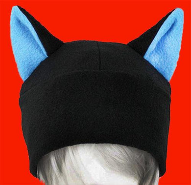 Cat Ear Hat Black and Blue Beanie, 100% Fleece
