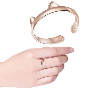 Rose Gold Plated Cat Ears Open Ring with cat paw prints in the tail of ring