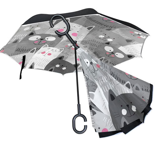 Gray Cartoon Cat Kitten Inverted Umbrella, 48.8 inches canopy