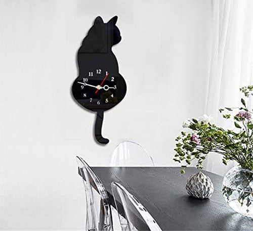 Cat Theme Wall Clock, Tail Swing Back and Forth.  Edit alt text