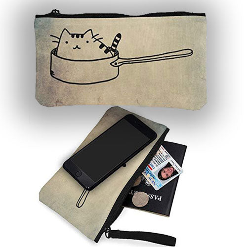 Cat Wallet Card Coin Holder Handbags, Lightweight Canvas Fabric