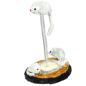 Cat White Mouse Spring Toy