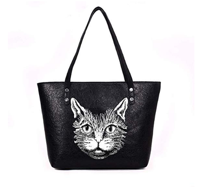Cat Handbag Purse for Women Cute Leather Satchel Tote Bag