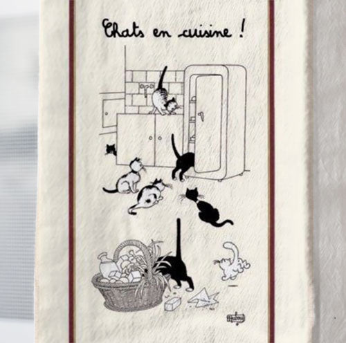 Torchons & Bouchons, Cats Printed Kitchen Tea Towel, Made in France