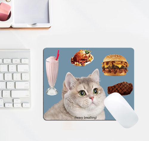 Heavy Breathing Cat with Delicious Foods Mouse Pad by Wknoon