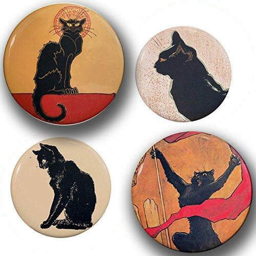 Round Le Chat Noir Black Cats Art Nouveau Magnet Set for Refrigerators  Edit alt text