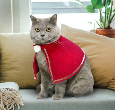 Christmas Cat Cape, Red, Noble Cloak Design  Edit alt text