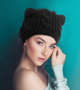 Cute Cat Ear Warm Beanies Hat, Acrylic Knit  Edit alt text