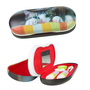 Dual Glasses and Contacts Case by OptiPlix, Cat Face Print with Matte Finish
