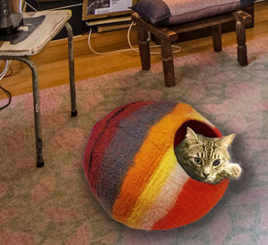 Felted Wool Cat Cave Bed