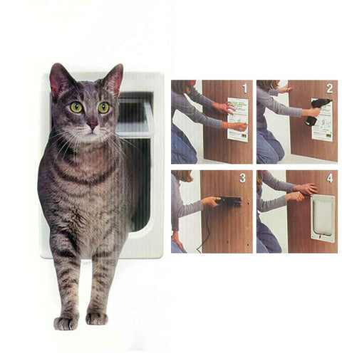 Interior or Exterior Cat Door with 4 Way Lock