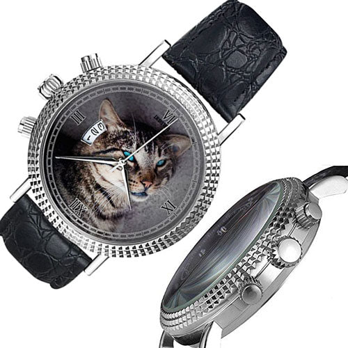Neutral Diamond Cat Face with Blue Eyes Quartz Watch