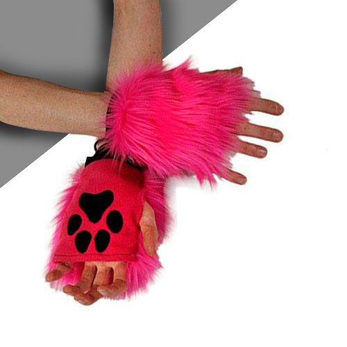 Pawlets Fingerless Furry Paws Glove - Hot Pink