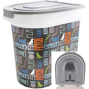 Paw Printed Pet Food Storage Container with 1 Cup Measuring Scoop