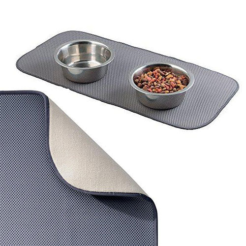 mDesign Absorbent Microfiber Pet Food & Water Bowl