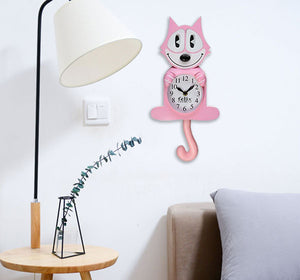 Pink Felix the Cat Clock, Eyes and Tail Move Back and Forth  Edit alt text