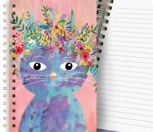 Plant Cat Hardcover Spiral Notebook, 160 lined pages  Edit alt text