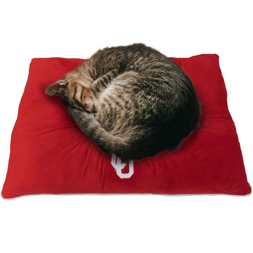 Red Oklahoma Sooners Plush Pillow Bed for Pets
