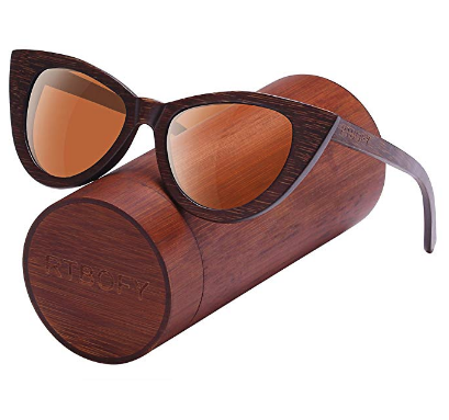 Wood Polarized Cat Eye Sunglasses, Bamboo Frame, Lens width: 1.77 inches