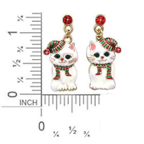 Santa Hat Kitty Cat Earrings Christmas Jewelry, Rhinestones / Red & Dark Green
