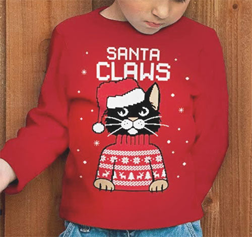 Pink Santa Claws Cat Design Christmas Sweater