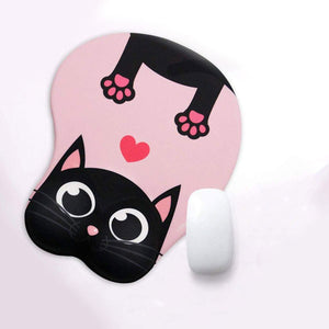 Stretching Black Cat Mouse Pad with Gel Wrist Support, Pink  Edit alt text