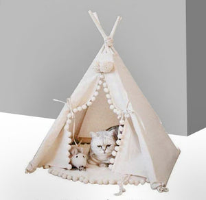 Teepee House Cat Bed With Cushion