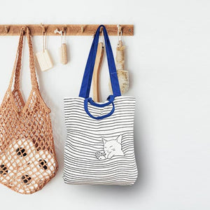 Tote Bag with Cute Design - Cat Sleeping ion the Lines