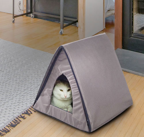 Triangle Heated Brown Cat House  Edit alt text