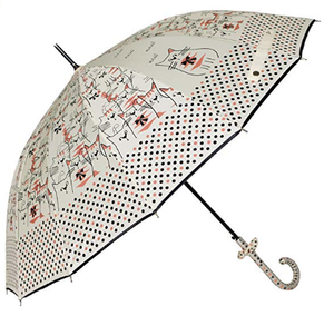 Uniumbrella Polka Dots Cat Animal Print Stick Rain Umbrella, Black
