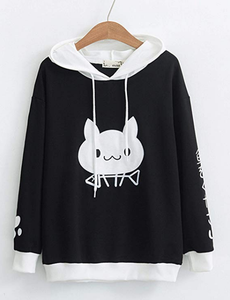 Women's Hoodie Black Pullover with White Smiling Cat Design