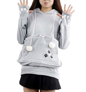 Womens Pocket Cat Hoodie Sweatshirt with Cat Holder  Edit alt text