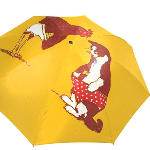 Yellow Umbrella - Funny Cat with red Underwear and Chicken