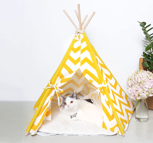 Pet Yellow Teepee Indian Cat Tent