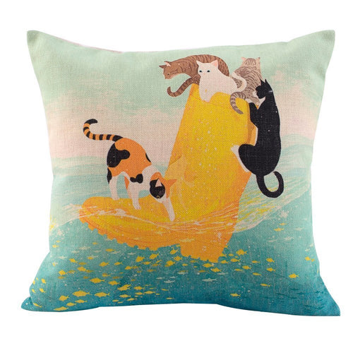 Cats on Yellow Boot Hand Draw Pillow Case