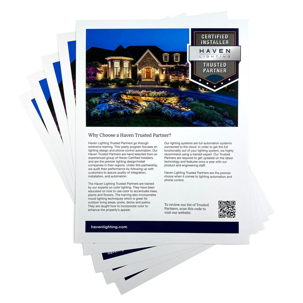 Trusted Partner Flyers (100 Qty) Literature Haven Lighting