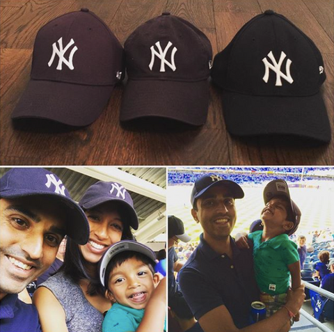 Family at yankees game for Father's Day