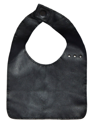 black leather bib