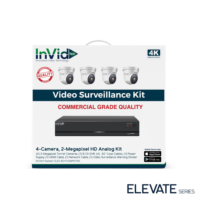 ELEV-8CHTX2MPKITAN: 4 Camera, 2 Megapixel HD Analog Kit