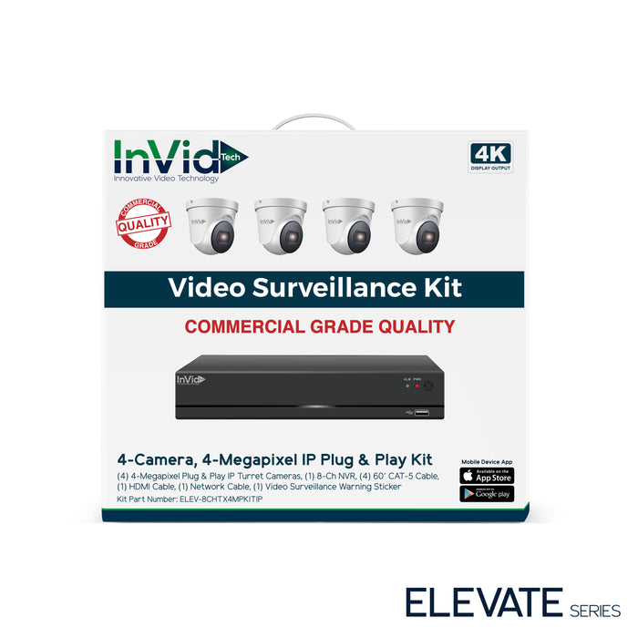 ELEV-8CHTX4MPKITIP: 4 Camera, 4 Megapixel IP Plug & Play Kit