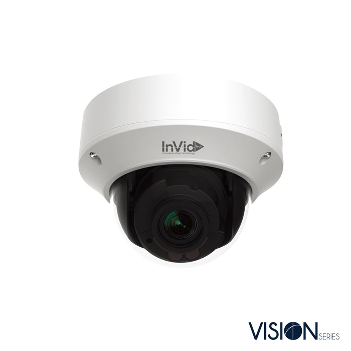 VIS-P8DRXIRA2812NH: 8 Megapixel IP Plug & Play Outdoor Dome, Motorized Auto-Focus Lens, up to 131' IR Range, WDR, Audio Input/Output, Built-in Mic, SD Card Slot, 12VDC/PoE