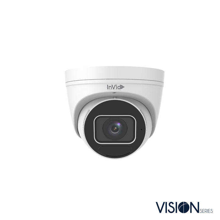 VIS-P8TXIRA2812NH: 8 Megapixel IP Plug & Play Turret, Motorized Auto-Focus Lens, up to 131' IR Range, WDR, Built-in Mic, SD Card Slot, 12VDC/PoE