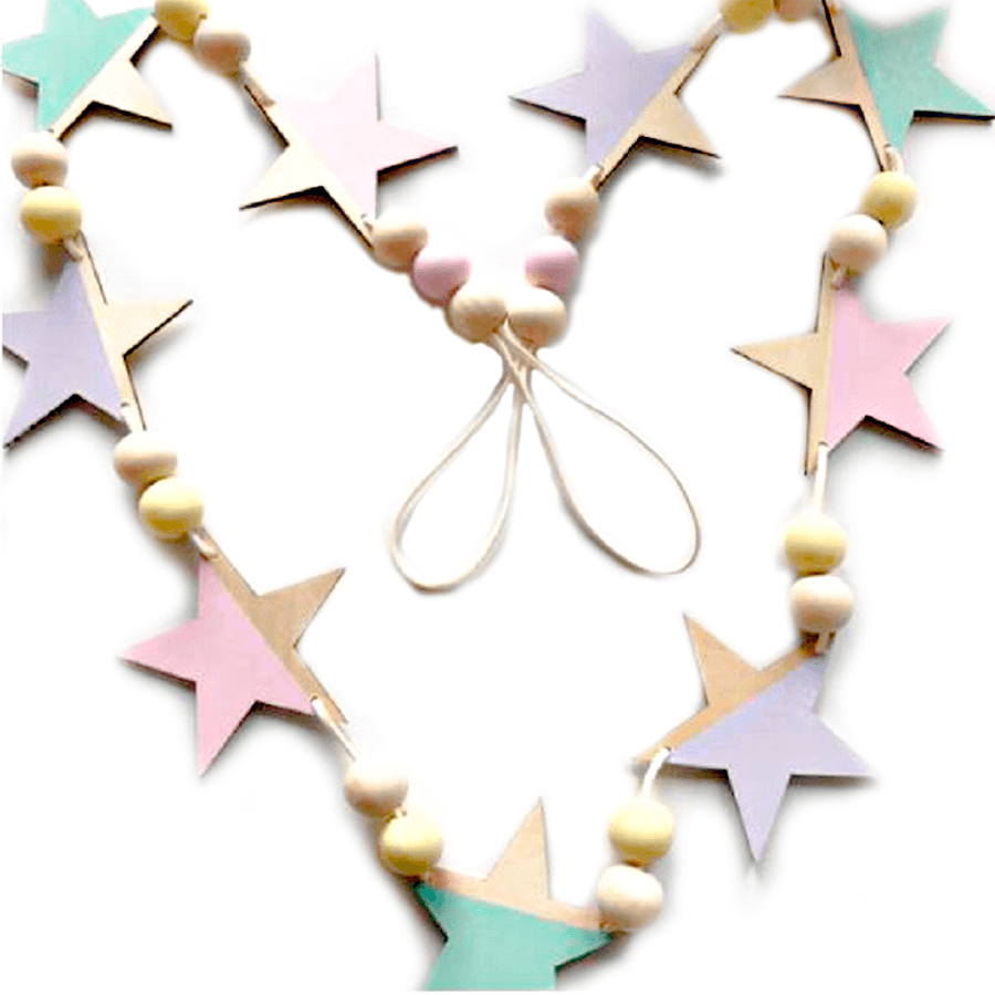 Guirnalda estrellas de madera multicolor - Made in Joyland