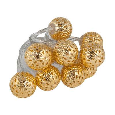 DIY DECORATIVE LIGHTING GUIRNALDA A PILAS 10 LED BOLAS COLOR ORO
