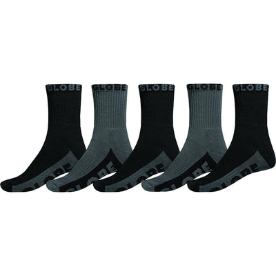 Calcetines Globe BLACK/GREY CREW SOCK 5PK