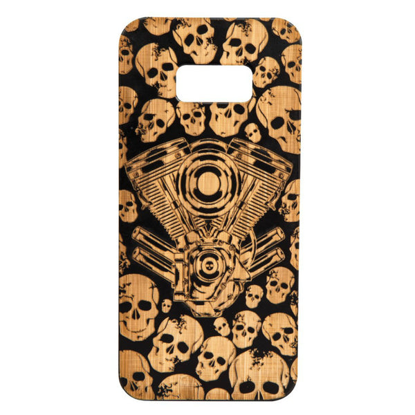 Skulls & V-Twin Bamboo Wood -iPhone/Samsung